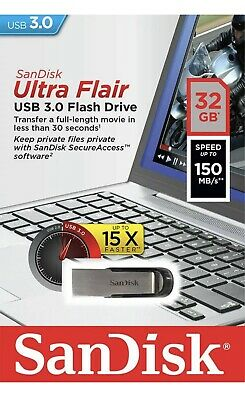 32GB SanDisk Ultra Flair USB 3.0 Memory Stick Flash Pen Drive