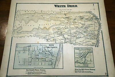 1868 Beers Union & Snyder Counties Atlas Map Of White Deer Township-Handcolored