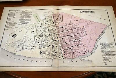 1868 Rare Beers Union & Snyder Counties Atlas City Map-Lewisburg-Handcolored