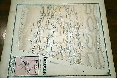 1868 Rare Beers Union & Snyder Counties Atlas Map Of Beaver Township-Handcolored