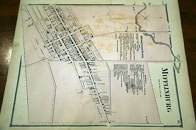 1868 Rare Beers Union & Snyder Counties Atlas City Map-Mifflinburg-Handcolored
