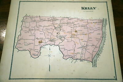 1868 Rare Beers Union & Snyder Counties Atlas Map Of Kelly Township-Handcolored
