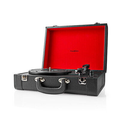 Briefcase Record Player Suitcase Vinyl 3 Speed Turntable Bluetooth Speakers NEW