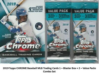 2019 Topps CHROME MLB Baseball Trading Cards 1-BLASTER+2-VALUE PACKS Combo Set