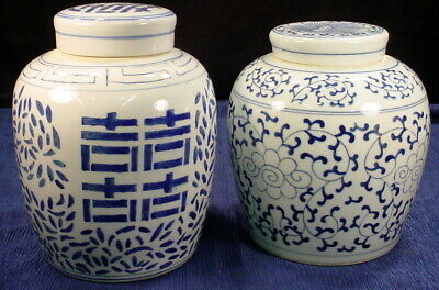 Vintage Lot of  2 Large Blue And White Porcelain Ginger Jars With Lids