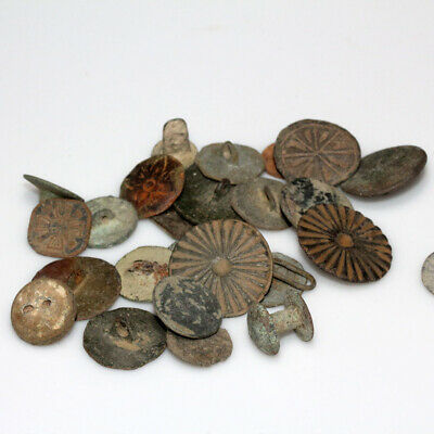 Lot Of 25 European Bronze Decorated Buttons From 1400 To 1700 Ad