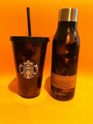 RARE DUO Starbucks Tortoise Shell Tumbler Cold 16 Oz And Insulated Water Bottle