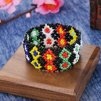 Boho Women Printing Patterned Beads Bracelet Handmade Elastic Wristband Jewelry