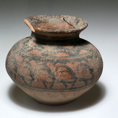 Indus Valley Terracotta Pot Vessel , Decorated , Circa 1900-1000 Bc