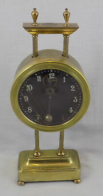 Watson & Webb Keyless Antique Brass Gravity Clock - Working But Spares Or Repair