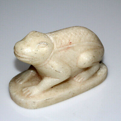 Very Rare Egyptian 100 Bc 400 Ad White Crystal Stone  Frog Statue