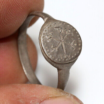Museum Quality Byzantine Silver Ring With Christogram Depiction Ca 500-1000 Ad