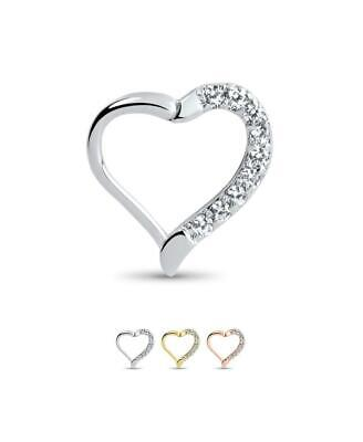 "316L Surgical Steel Hinged Septum Clicker Left Heart 3/8"" - 9.5mm 16G"