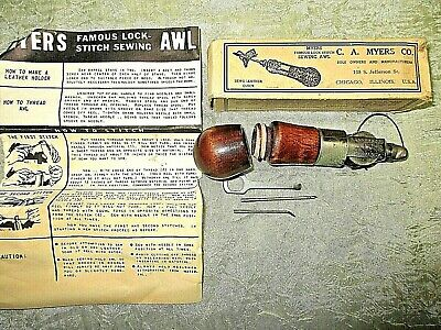 Vintage Lock Stitch Sewing Awl = C.a.myers Co., Chicago=W/ Box & Instructions