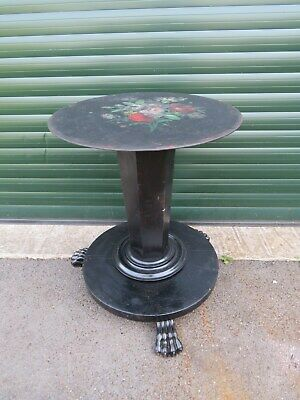 Victorian Ebonized Table Lions Claw Feet Handpainted Metal Top Bar Bbq Man Cave