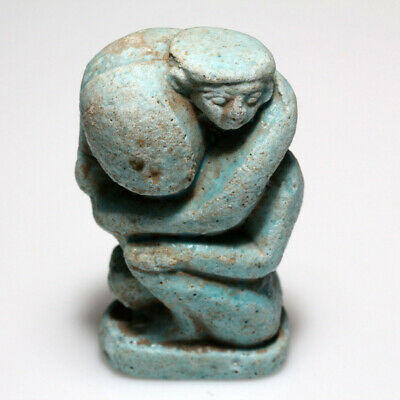 Very Interest Egyptian Blue Faience Statue Circa 1000-700 Bc
