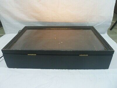 Awesome Wooden Table Top Display Case With Hinged Glass Top
