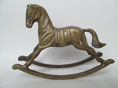 A Lovely Vintage Solid Brass Rocking Horse Ornament