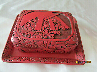 Chinese Cinnabar Box and Tray Antique Red Laquer Asian Antique