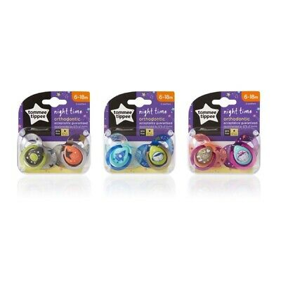 Tommee Tippee Night Time Soother Twin Pack - 6-18m Choice of Design (A163)