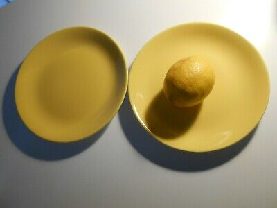 """2 x 1950s Vintage Vibrant Yellow RIDGWAY Staffordshire 8"""" Lunch / Dinner Plates"""