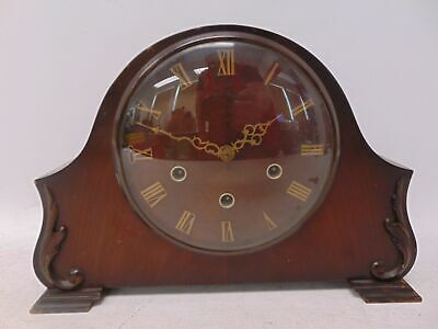 Vintage SMITHS Mechanical Mantel Clock With Chimes & Decorative Wood Case - H26
