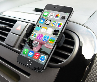 Car Mobile Phone Air Vent Mount Holder 360 Rotating In Cradle Stand UK Universal