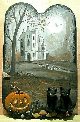 Original Ooak Halloween Ryta Black Cat Witch Painting Hand Painted Vintage Style