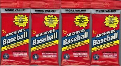 (4) 2019 Topps ARCHIVES Baseball MLB Baseball Trading Cards 18c. FAT PACK LOT