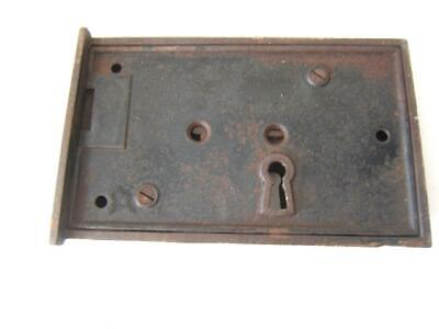 Antique Metal Cast Iron Large Door Lock Non-Working No Key 8 X 5""