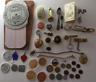 JUNK DRAWER Lot of VARIOUS VINTAGE/ANTIQUE ITEMS tokens/spoons/tags/pins/++more