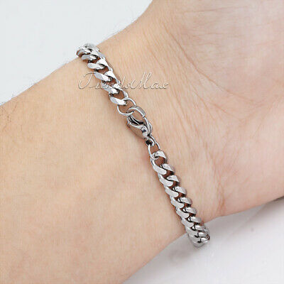 3mm Mens Curb Cuban Chain Silver Tone Stainless Steel Bracelet  Link 7-11 inch