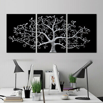 3 Panels Tree Abstract Modern Canvas Painting Posters Black and White Prints