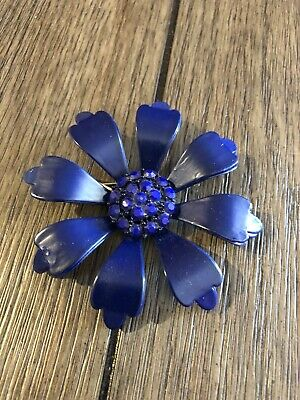 Vintage Flower Pin Huge Navy Blue With Glass Bead Center.