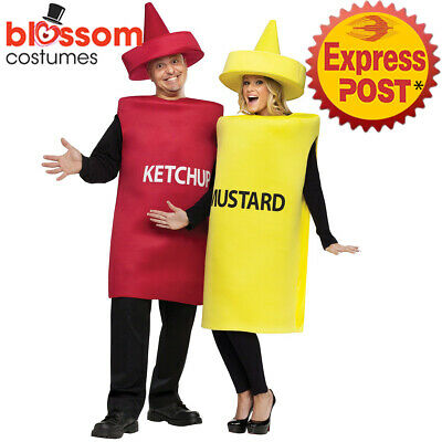 CA529 Ketchup Mustard Costume Unisex Funny Food Humour Mens Womens Couple Tunic