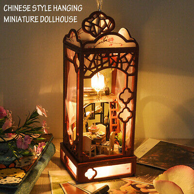 Hanging Miniature Dollhouse Wooden Doll House Model Furniture LED, Chinese Style