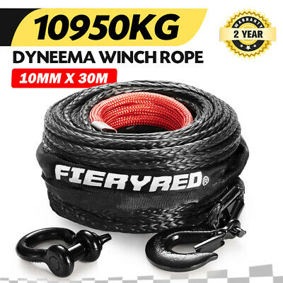 Winch Rope 10MM x 30M Dyneema SK75 Hook Synthetic Car Tow Recovery Cable Black