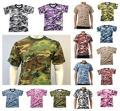 Mens Army Style Gym Training Running Outdoor Boot Camp Hunt Camo T-shirt Tee