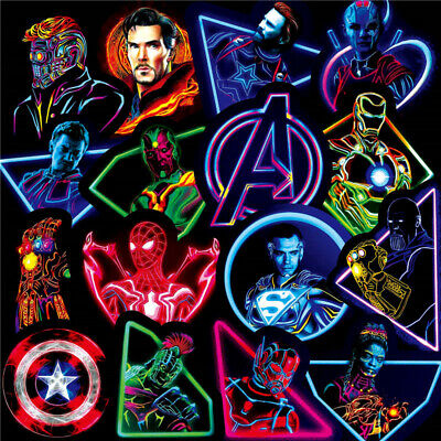 Neon Stickers MARVEL Avengers Super Hero DC Vinyl Laptop Skateboard Guitar Decal