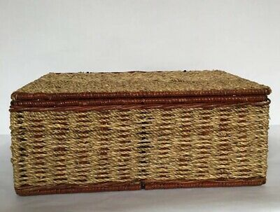 Woodluv Seagrass Storage Basket with Large Lid, Metal Frame,32x26x13cm