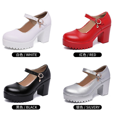 Women Ankle Strap Platform Shoes High Heels Catwalk Party Prom Chunky Pumps Size