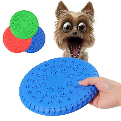 Dog Soft Rubber Frisbee Toy Flying Disc Latex Training Fetch Stuffs Toothbrush