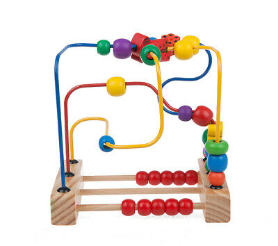 USA Baby Boys Girls Wooden Toddler Toys Circle First Bead Maze +Suction cup base