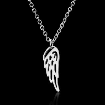 Fashion Stainless Steel Silver Angel Wing Flower Necklace Pendant Family Gift