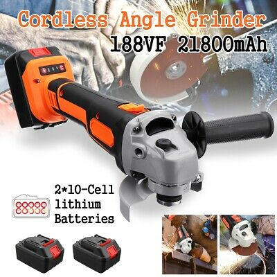 Cordless Brushless Electric Angle Grinder Cutting & 2Pcs Li-ion Battery &Toolkit