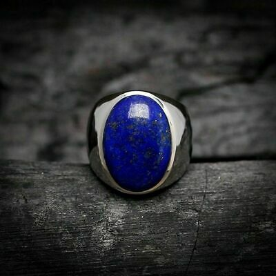 925 Sterling Silver Certified Natural Handmade 9Ct Lapis Lazuli stone Mens Ring
