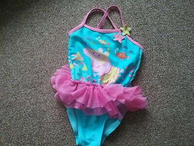 Official Peppa Pig Swim Suit Costume 18-24 Months Baby Girl Pink Blue Tu Tu Fish