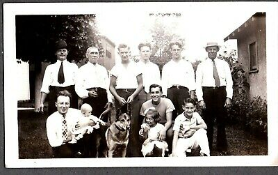 Vintage Photograph '35 Men's Girls Fashion German Shepherd Dog Puppy Leash Photo