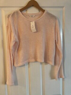 Girls Matalan Candy Pink / Peach Long Sleeve Cropped Top Age 14 Years New Tags