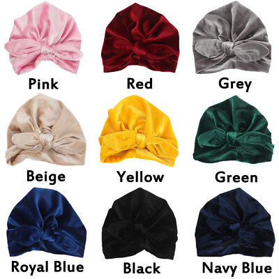 Toddler Baby Soft Velvet Winter Hats Indian Turban Caps Bohemia Style Head Wrap